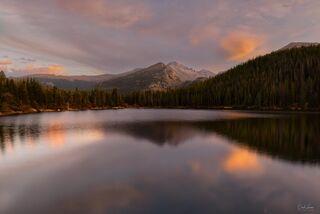 View on Longs Peak in RMNP at sunset in Colorado.