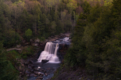 View of Blackwater Falls in Blackwater Falls State Park in West Virginia at sunrise.
