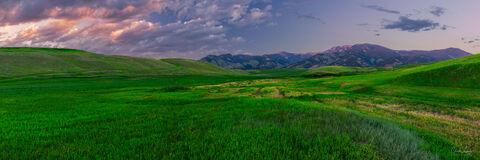 View on Bridger Mountain Range at sunset in Bozeman, Montana.