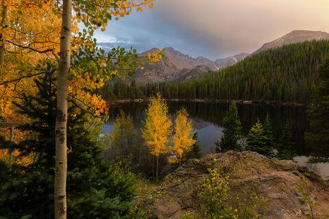 View on Longs Peak mountain from Bear Lake in RMNP in Colorado.
