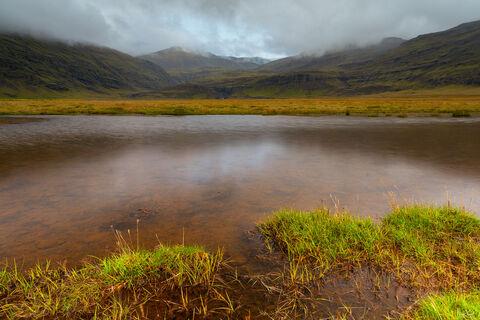 View of pond near Jokulsarlon in Iceland.