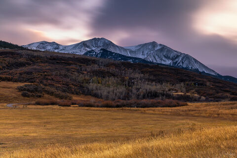 View at sunset on Mount Sopris in Carbondale, Colorado.