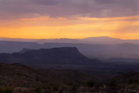 View of Chisos Mountain Range at Big Bend National Park at sunset.