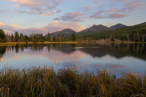 Reflection of Estes Cone at Sprague Lake in Rocky Mountain National Park.