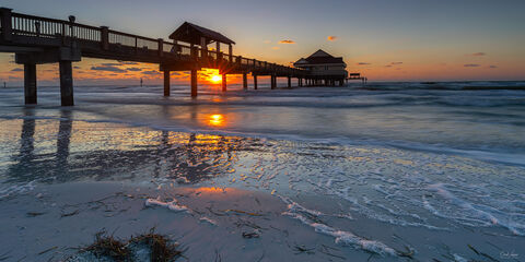 View of Clearwater Pier in Clearwater in Florida at sunset.