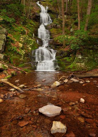 View of Buttermilk Falls in Delaware Water Gap in New Jersey.
