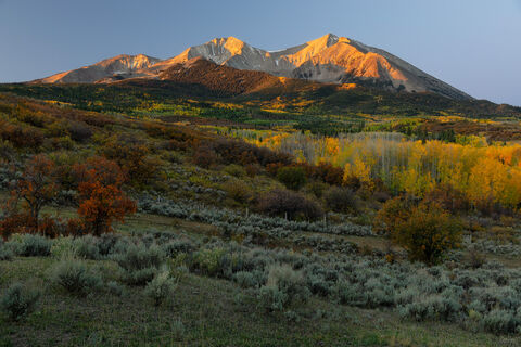 View on Mount Sopris in Carbondale, Colorado at sunrise.