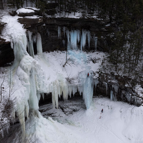 View of frozen Kaaterskill Falls in Upstate New York.
