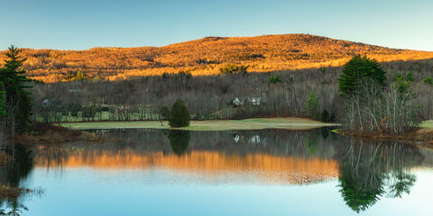 View of Jewell Brook Reservoir in Vermont at sunrise.