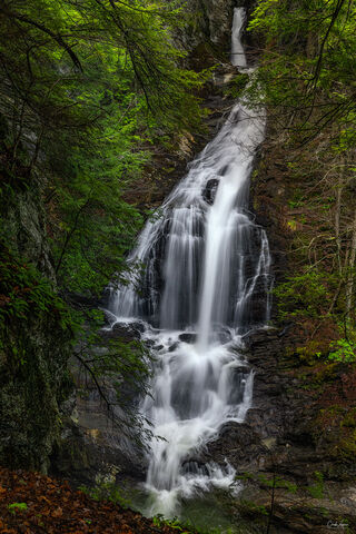 View of Moss Glen Falls in Stowe in Vermont.