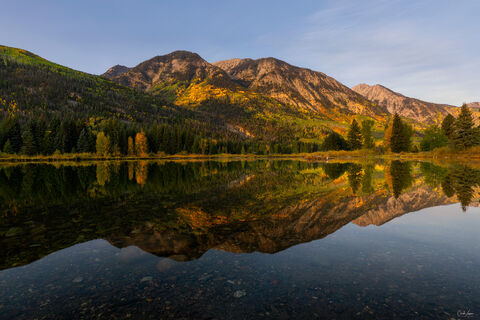 View of mountain reflection in lake near Marble in Colorado.