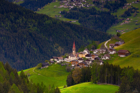View from above on a small village in the Dolomites in Italy.