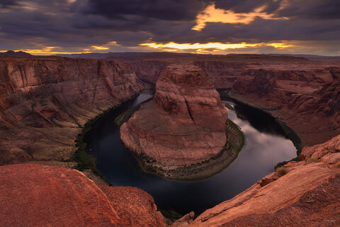 View of Horseshoe Bend in Page in Arizona at sunset.