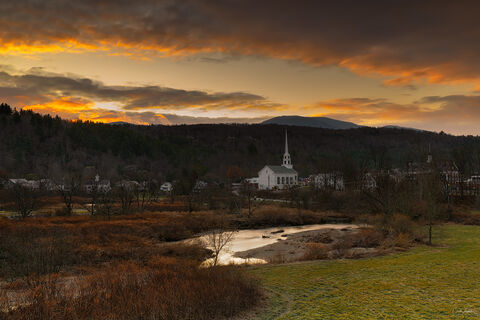 Sunrise over the town of Stowe in Vermont.