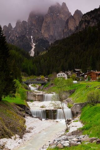 View of The Dolomites Mountains in South Tyrol in Italy.