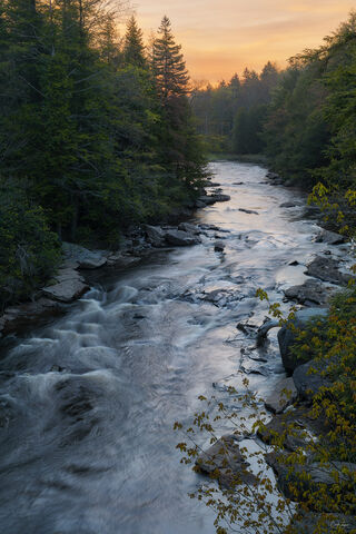 View of Blackwater River at Blackwater Falls State Park in West Virginia at sunrise.