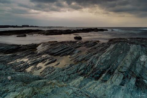 Rock Formations at Kings Beach in Newport in Rhode Island.