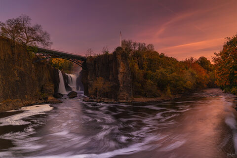 View of Great Falls in New Jersey at sunrise.