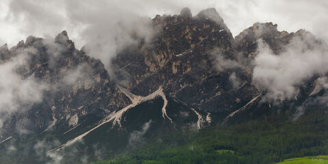 View on Pomagagnon Mountain in the Dolomites in Italy.