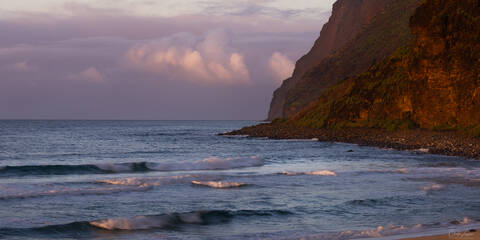 Sunset at Polihale Beach State Park on the West Side of Kauai Island in Hawaii.