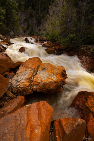 View of stream on the Million Dollar Highway in Colorado.