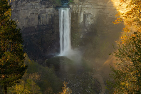 View of Taughannock Falls from the overlook at Taughannock Falls State Park in New York.