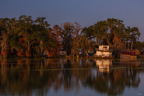View of Bayou Grosbec river in Louisiana at sunset.