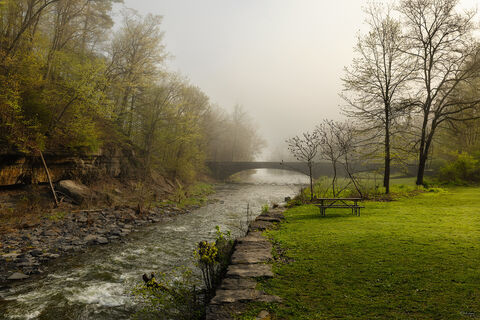 View of Taughannock River in Taughannock Falls State Park in New York.