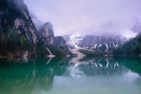 View on Seekofel Mountain at Lake Braies in South Tyrol in Italy.