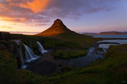 Sunset over Kirjjufell Mountain in Iceland.