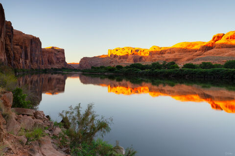 View of sandstone reflections in the Colorado River outside of Moab in Utah.