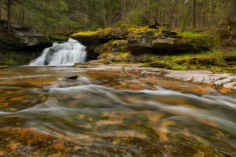 View of Tompkins Falls in Delaware County in New York.