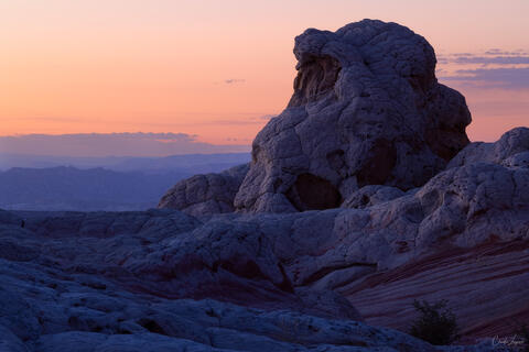 View of rock formations in White Pocket in Arizona at sunset.