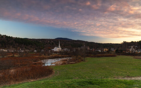 Sunset over the town of Stowe in Vermont.