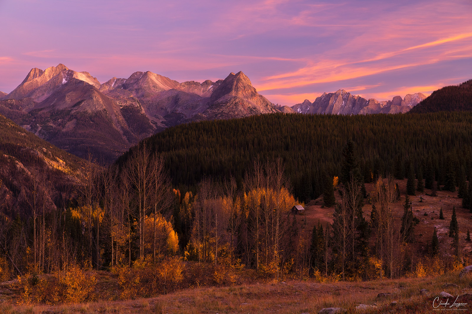 Sunset above the San Juan Mountains on the Million Dollar Highway in Colorado.