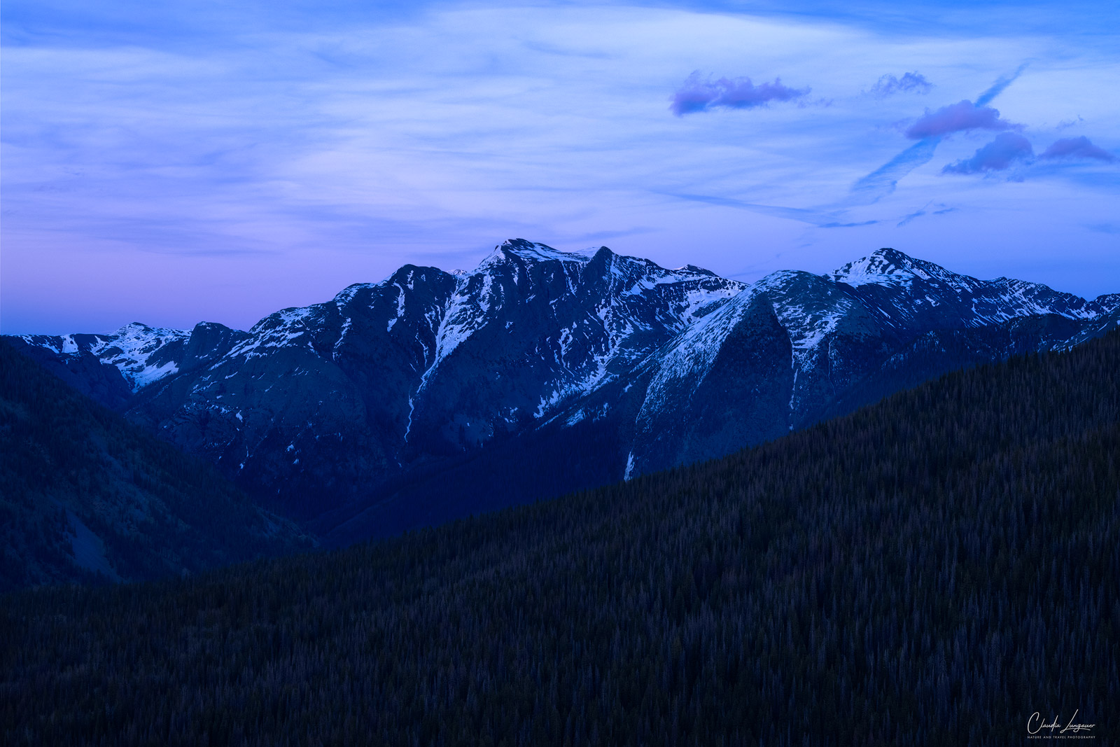 View of San Juan Mountains on the Million Dollar Highway at dusk.