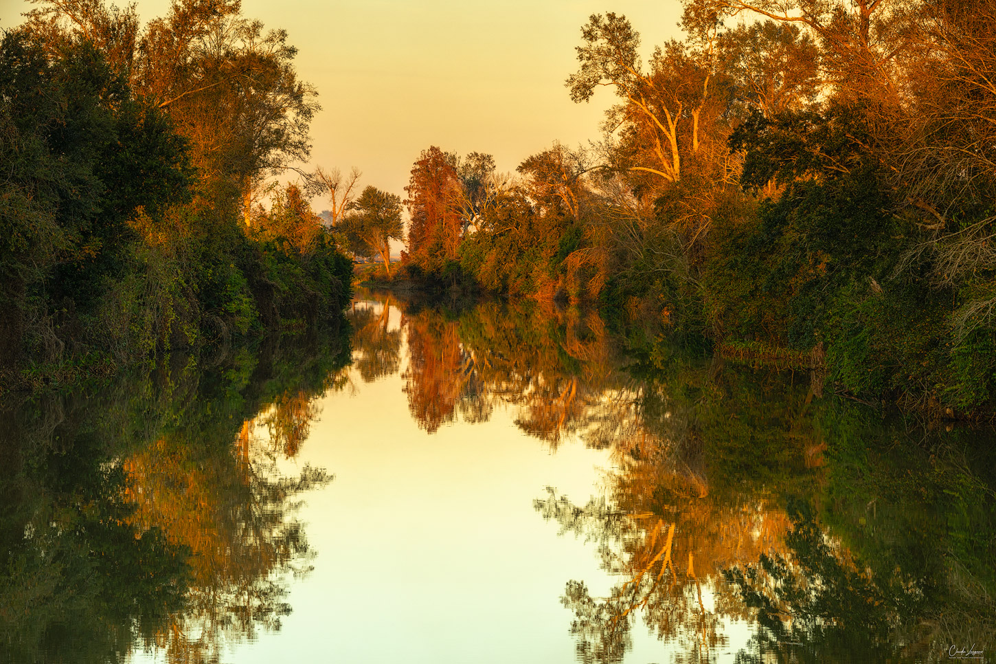View of Bayou Lafourche river in Louisiana at sunset.