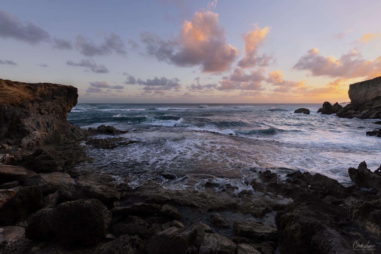 A small beach along the Mahaulepu Heritage Trail near Shipwreck Beach on Kauai island in Hawaii..