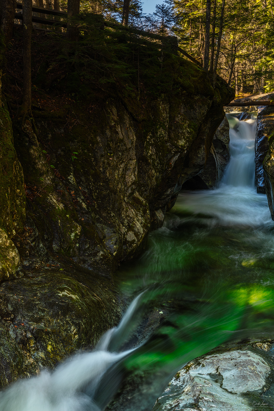 View of Texas Falls in Hancock in Vermont.