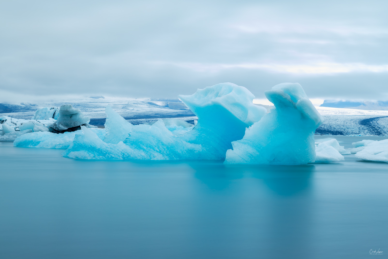 View of icebergs at the beach of Jokulsarlon Glacier Lagoon in Iceland.