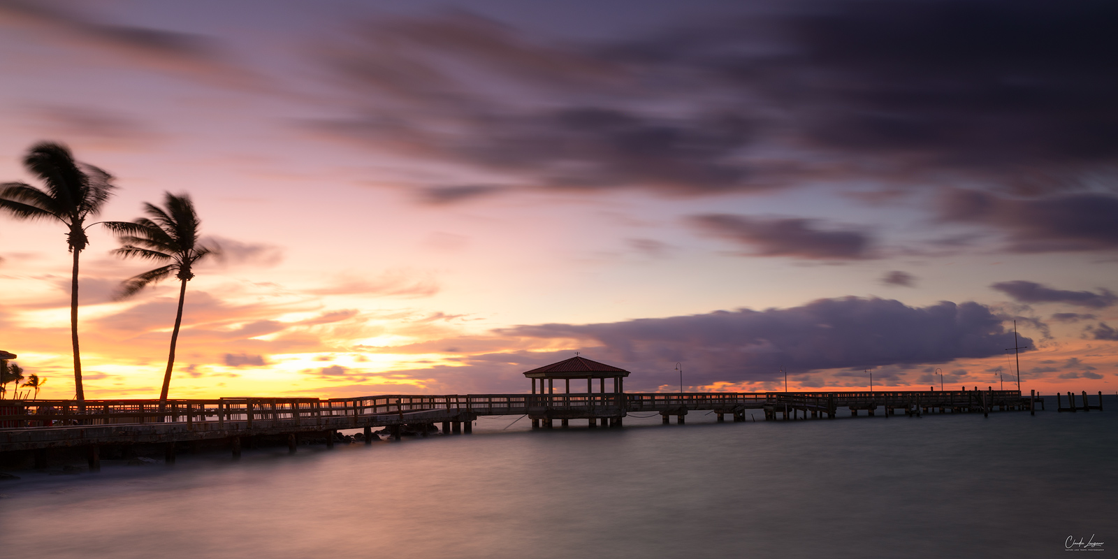 View of the pier at John & Mary Spottswood Waterfront Park in Key West.