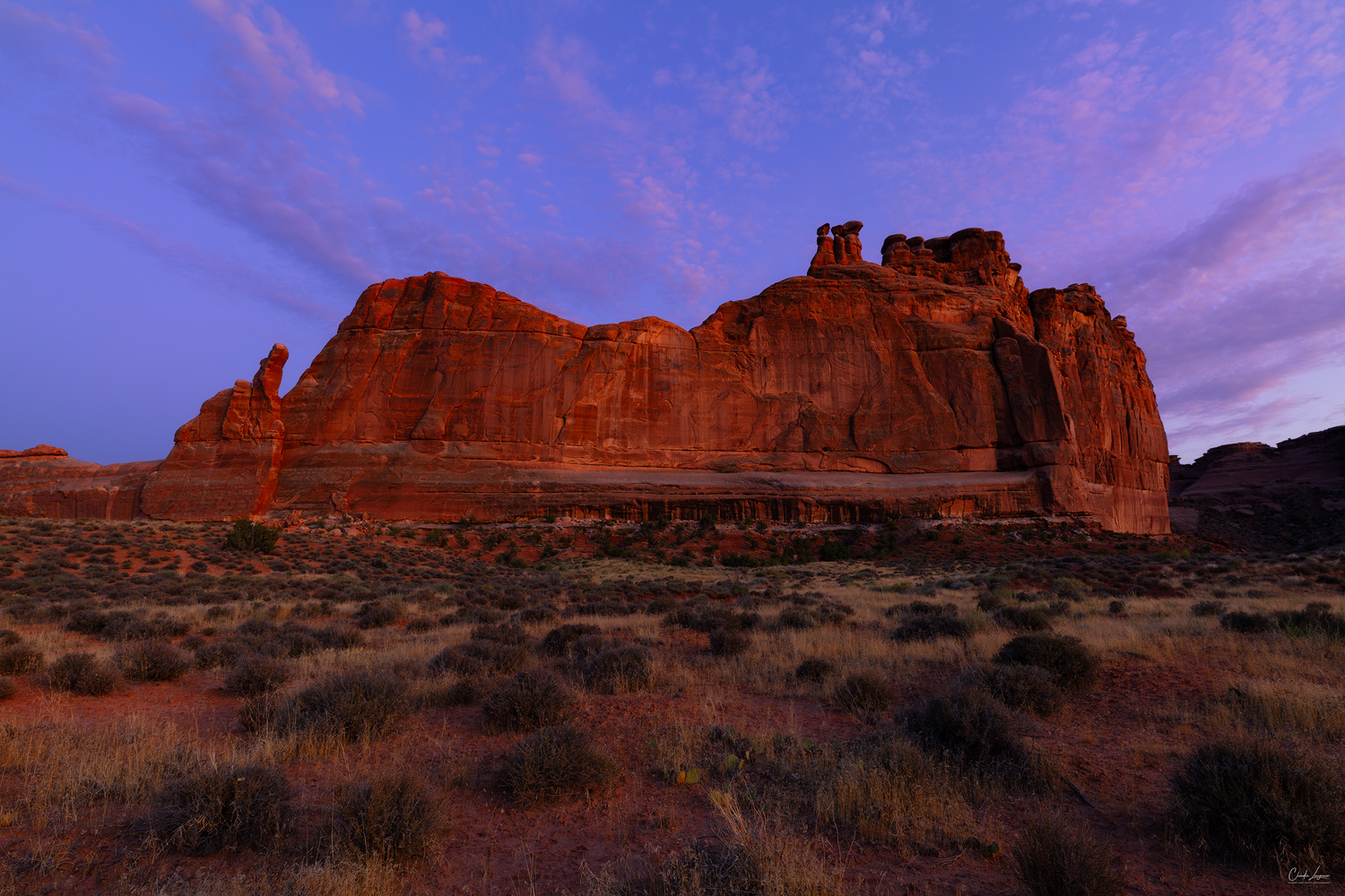 View of the Tower of Babel in Arches National Park in Utah at sunset.