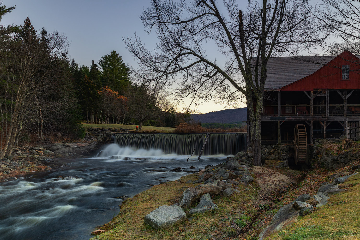 View of The Old Mill Museum and falls in Weston in Vermont.