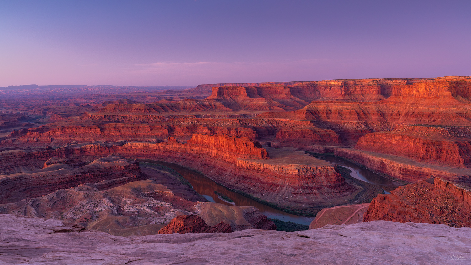 View of the Canyonlands and Colorado River at Dead Horse Point State Park in Utah.