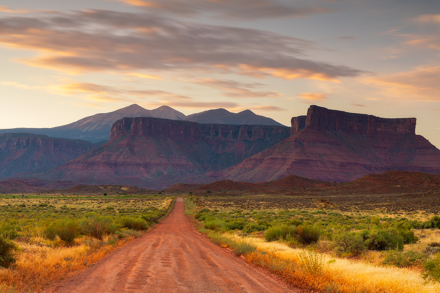 View of Red Rock Formations near Moab in Utah at sunrise.