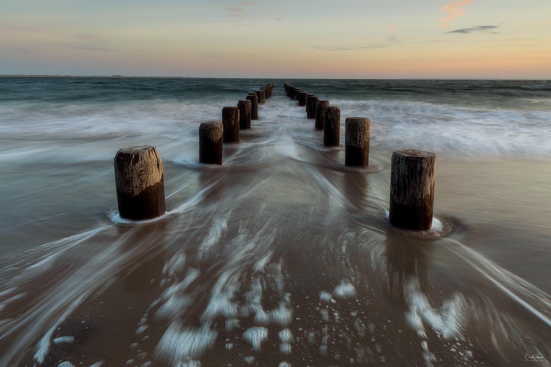 Sunset at Brighton Beach in New York City.