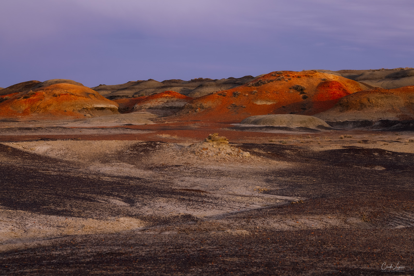 Sunset at Bisti/De-Na-Zin Wilderness in New Mexico.