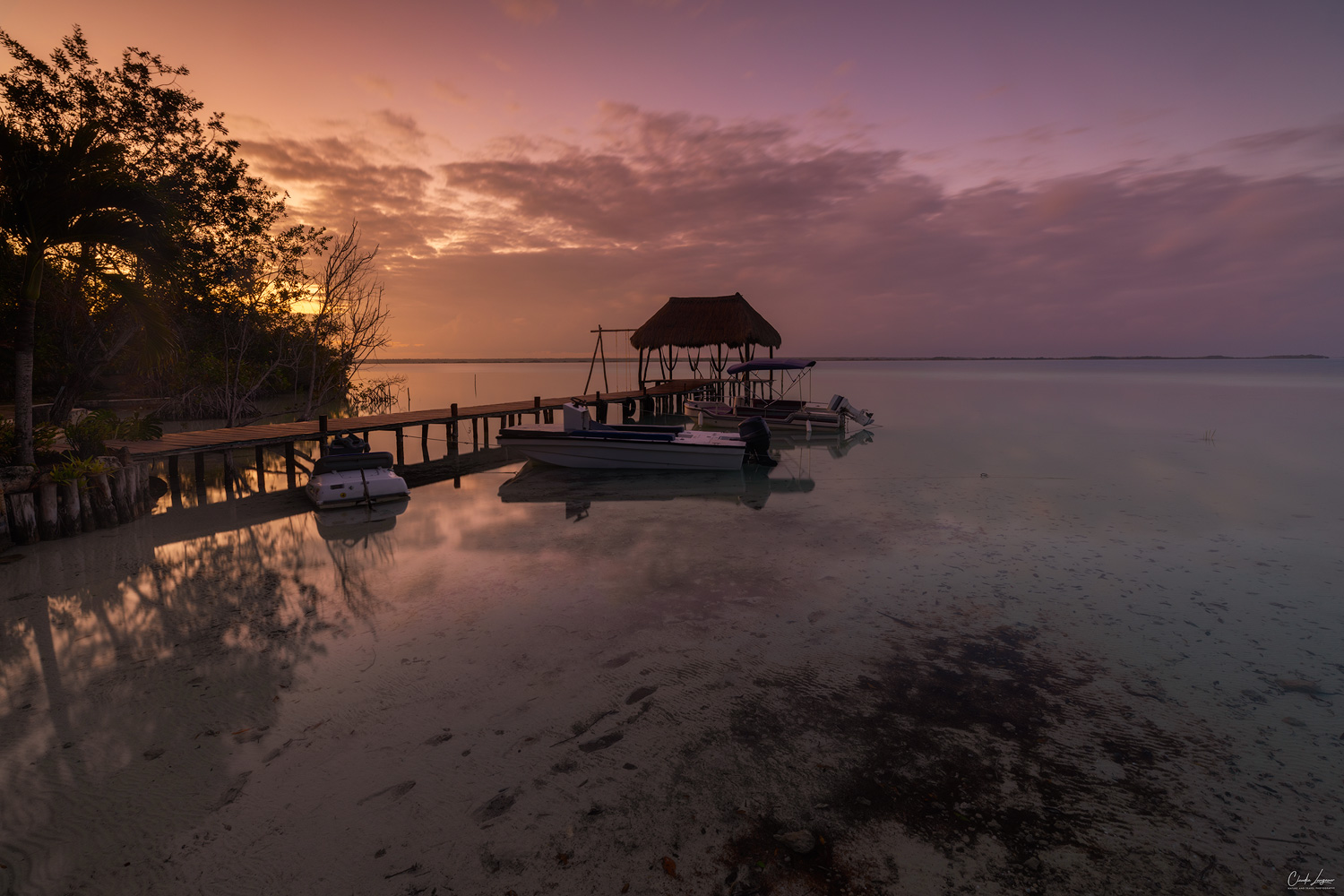 View of pier at Lake Bacalar in Quintana Roo in Mexico.