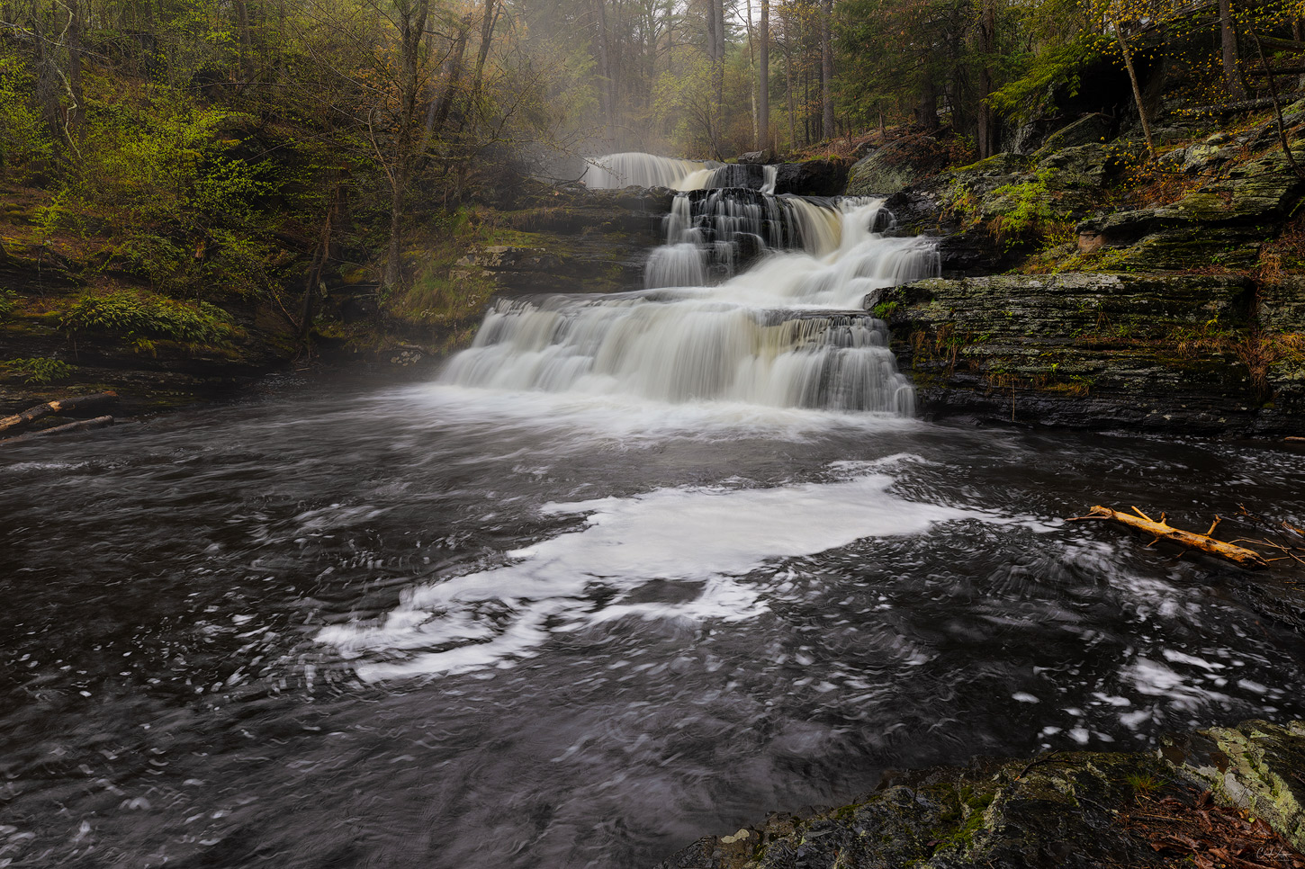 View of falls at W. Childs Park in Delaware Township in Pennsylvania.