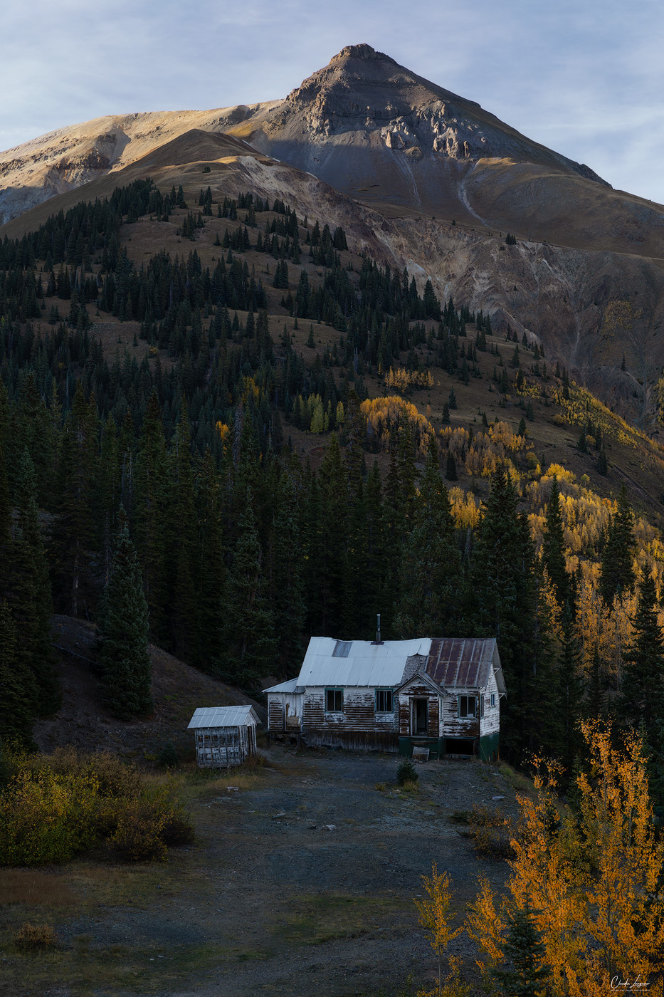 View of abandonned houses near Ridgway on the Million Dollar Highway.